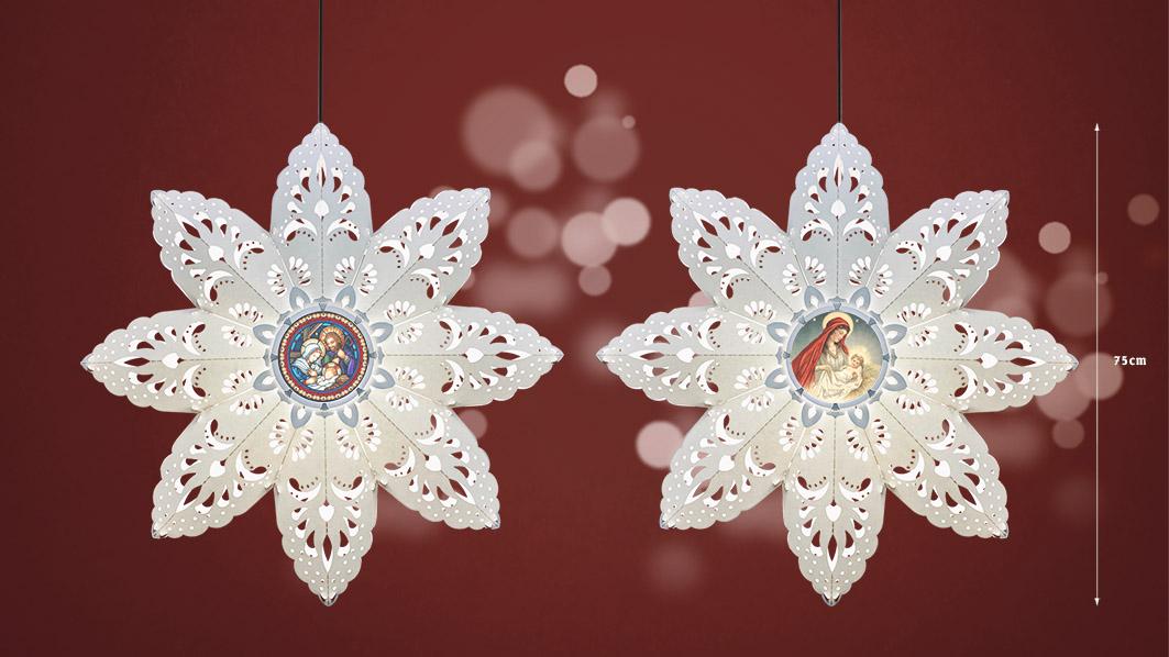 Lồng đèn Tuyết Trắng size lớn 75cm với 2 mặt lồng đèn in hình đẹp mắt