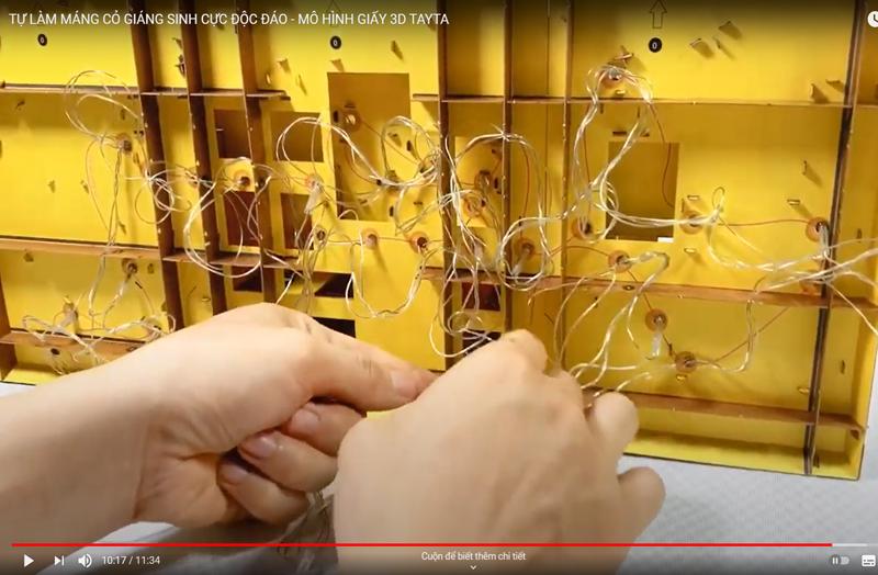 Sơ đồ vị trí mắc dây đèn led của Bộ lắp ráp Mô hình Máng Cỏ Giáng Sinh từ TAYTA