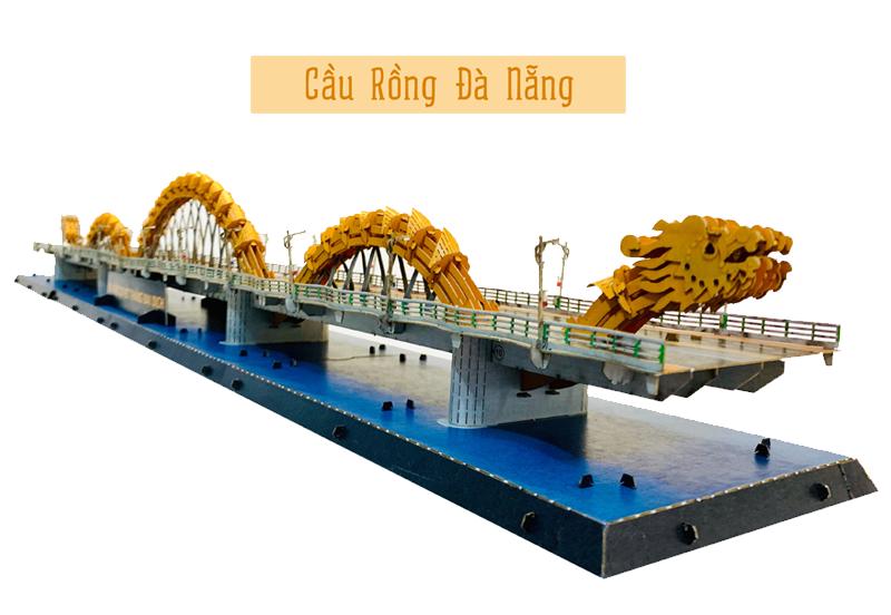 Mô hình giấy 3D Cầu Rồng Đà Nẵng tự làm được thực hiện trong những ngày Đà Nẵng chống chọi với dịch Covid