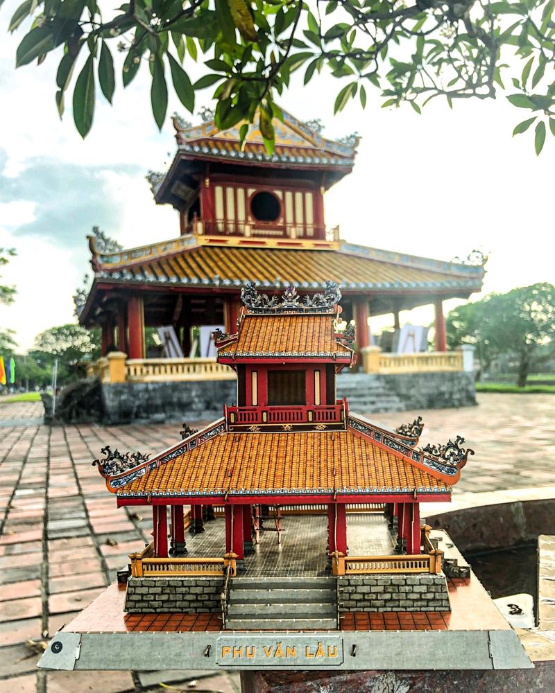 Tổng thể Mô hình 3D Phu Văn Lâu Huế với màu sắc hài hòa bắt mắt