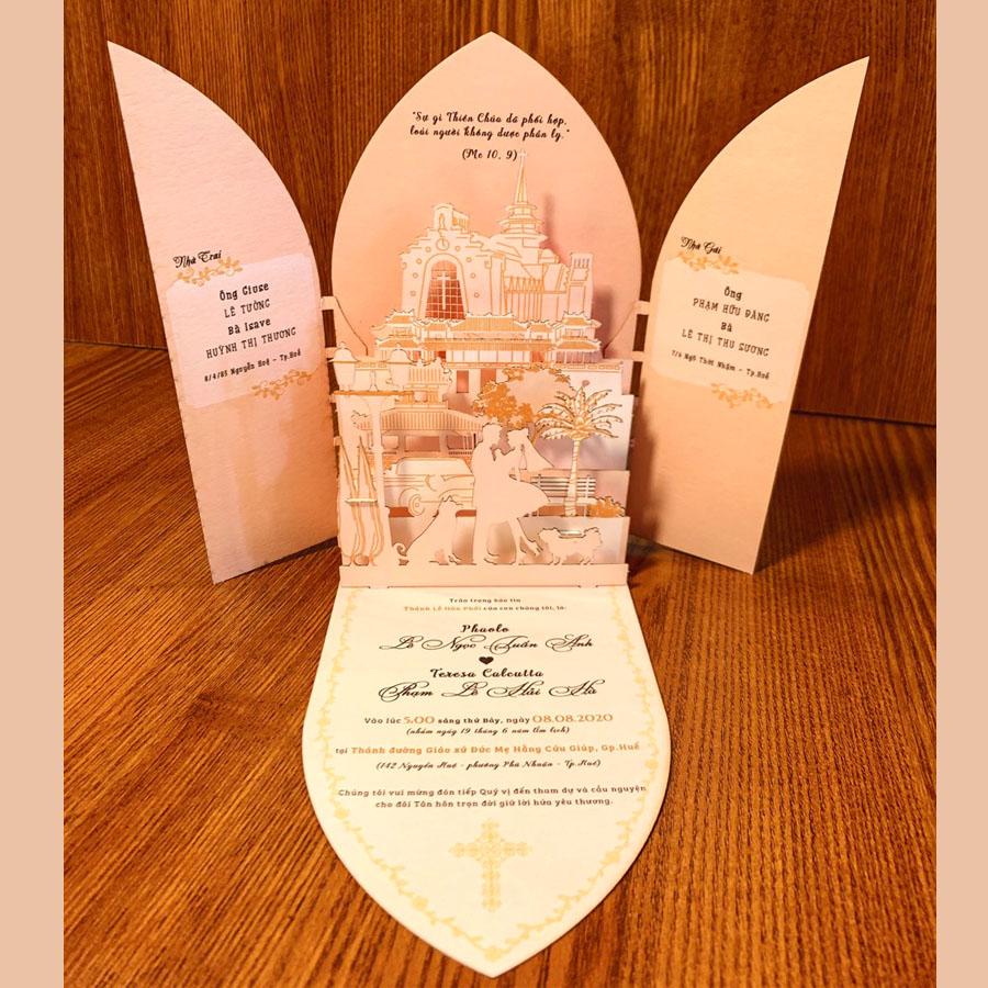 Thiệp cưới 3D đẹp với nhiều lớp mô hình ý nghĩa