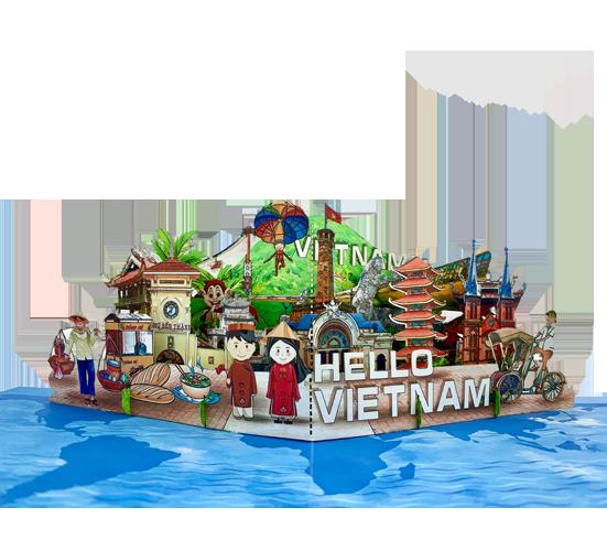 Thiệp 3D Popup Hello Vietnam được Tayta thiết kế theo đơn đặt hàng từ IHG.